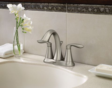 Moen 6410 Eva Two Handle Bathroom Faucet in Brushed Nickel