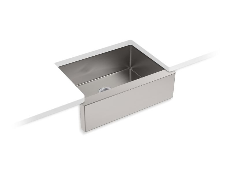Kohler K 5417 Na Strive Self Trimming 29 50 X 21 25 X 9 32 Under Mount Medium Single Bowl Kitchen Sink With Tall Apron In Stainless Steel General Plumbing Supply Inc