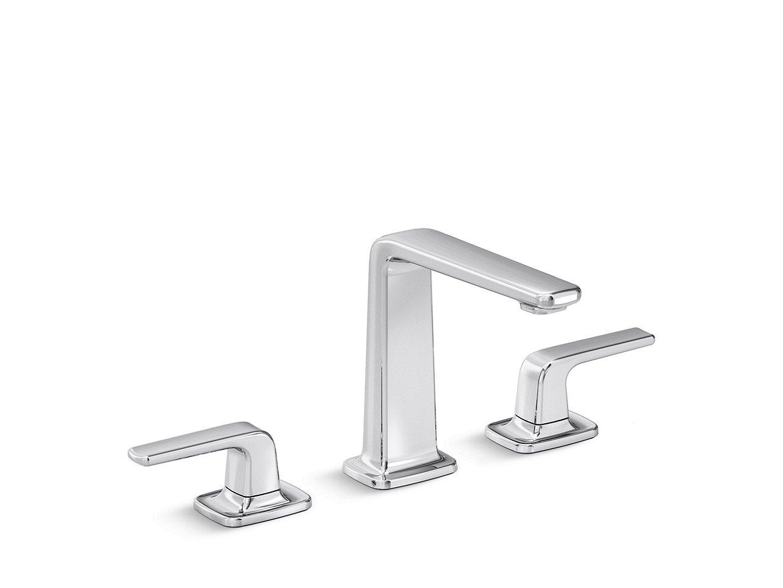 """Kallista Per P24736-LV-CP 1/2""""-14 Npsm, Lead-Free, Chrome, Solid Brass, Low Spout, 2-Lever Handle, Deck Mount, Widespread, Basin Set"""