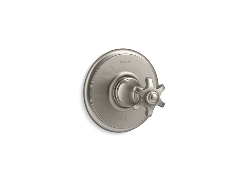 Kohler K-TS72767-3M-BN Artifacts Rite Temp Valve Trim with Prong Handle in Vibrant Brushed Nickel