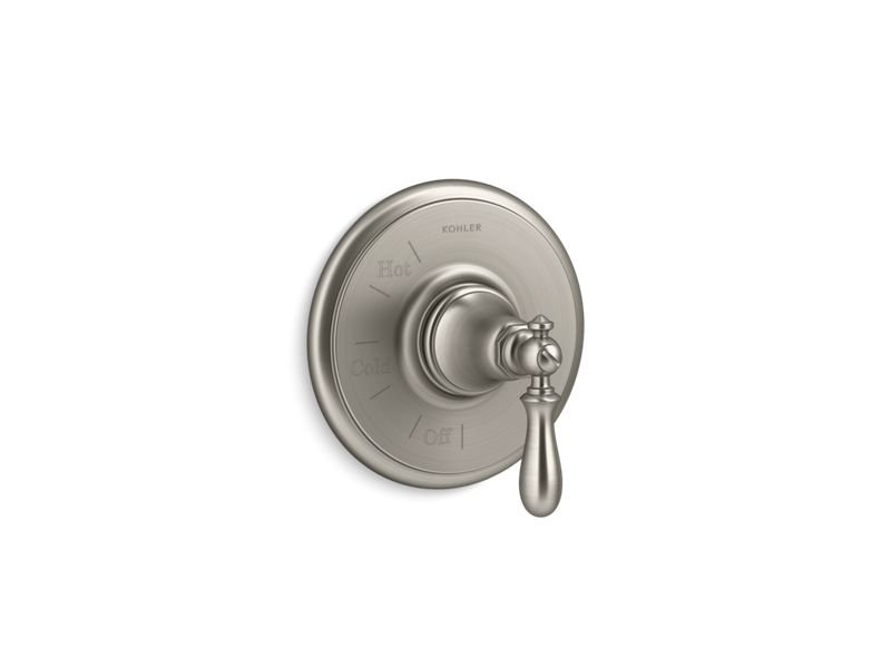 Kohler K-TS72767-9M-BN Artifacts Rite Temp Valve Trim with Swing Lever Handle in Vibrant Brushed Nickel