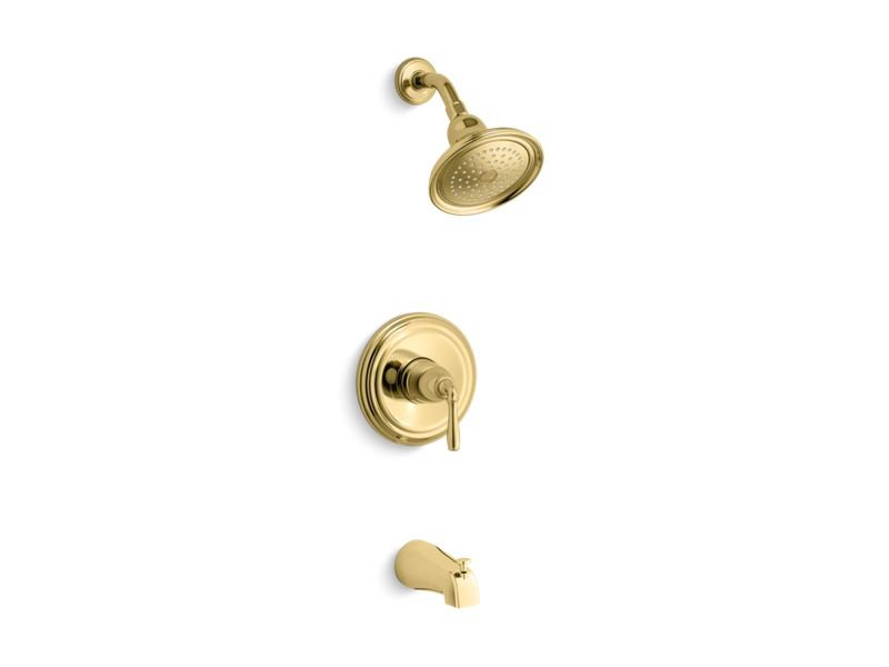 Kohler K-TS395-4-PB Devonshire Rite-temp Bath and Shower Trim Set with NPT Spout, Valve Not Included in Vibrant Polished Brass