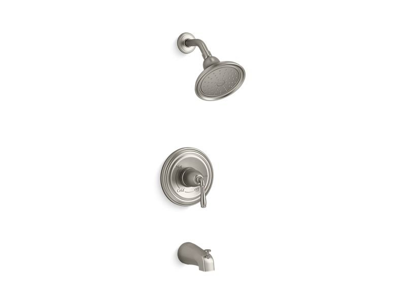Kohler K-TS395-4S-BN Devonshire Rite-temp Bath and Shower Valve Trim with Lever Handle, Slip-fit Spout and 2.5 Gpm Showerhead in Vibrant Brushed Nickel