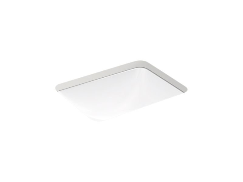 Kohler K-20000-0 Caxton Rectangle Under-Mount Bathroom Sink with Overflow and Clamp Assembly in White