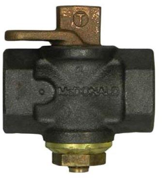 "A.Y. Mcdonald 4812-180 1-1/4"", Fptxfpt, 175Psig, Black Iron, Full Port, Non-Potable, Flat Head, Lockwing, Plug Valve"