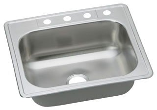 "Elkay Dayton DSE125223 25"" X 22"" 8-1/16"" Elite Satin Stainless Steel 3-Hole 1-Bowl Kitchen Sink"