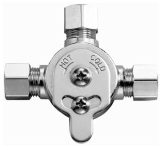 """Sloan Optima 3326009 3/8"""" Compressionxcompressionxcompression 1.75 To 4Gpm 70Psi Chrome Lead-Free Brass Mechanical Mixing Valve"""