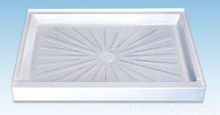 "Mustee Durabase 3248M 48"" X 32"" 5-1/2"" White Fiberglass 1-Piece Single Threshold Sturdy Shower Floor"