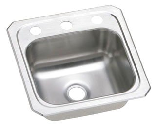 "Elkay BCR152 20 Gauge Stainless Steel 15"" x 15"" x 6.12"" Single Bowl Top Mount Bar/Prep Sink - 2 Hole in Brushed Satin"