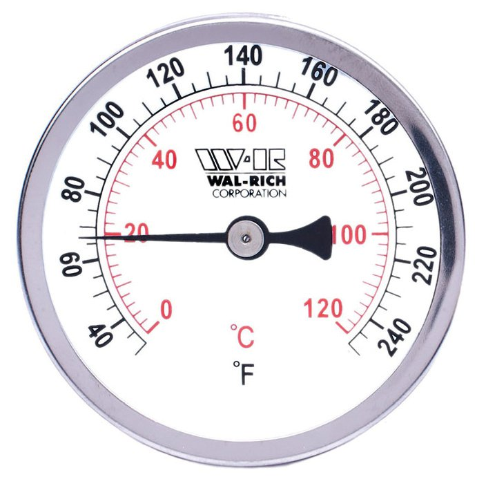 """Walrich 1722011 3-1/2"""" Dial Fahrenheit Hot Water Thermometer"""