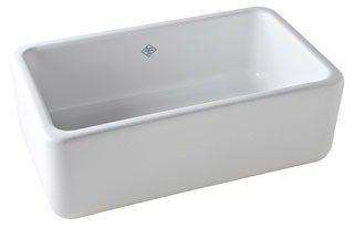 """Rohl Shaws RC3018WH 30"""" X 18"""" X 10"""" White Fireclay 1-Bowl Front Apron Kitchen Sink"""