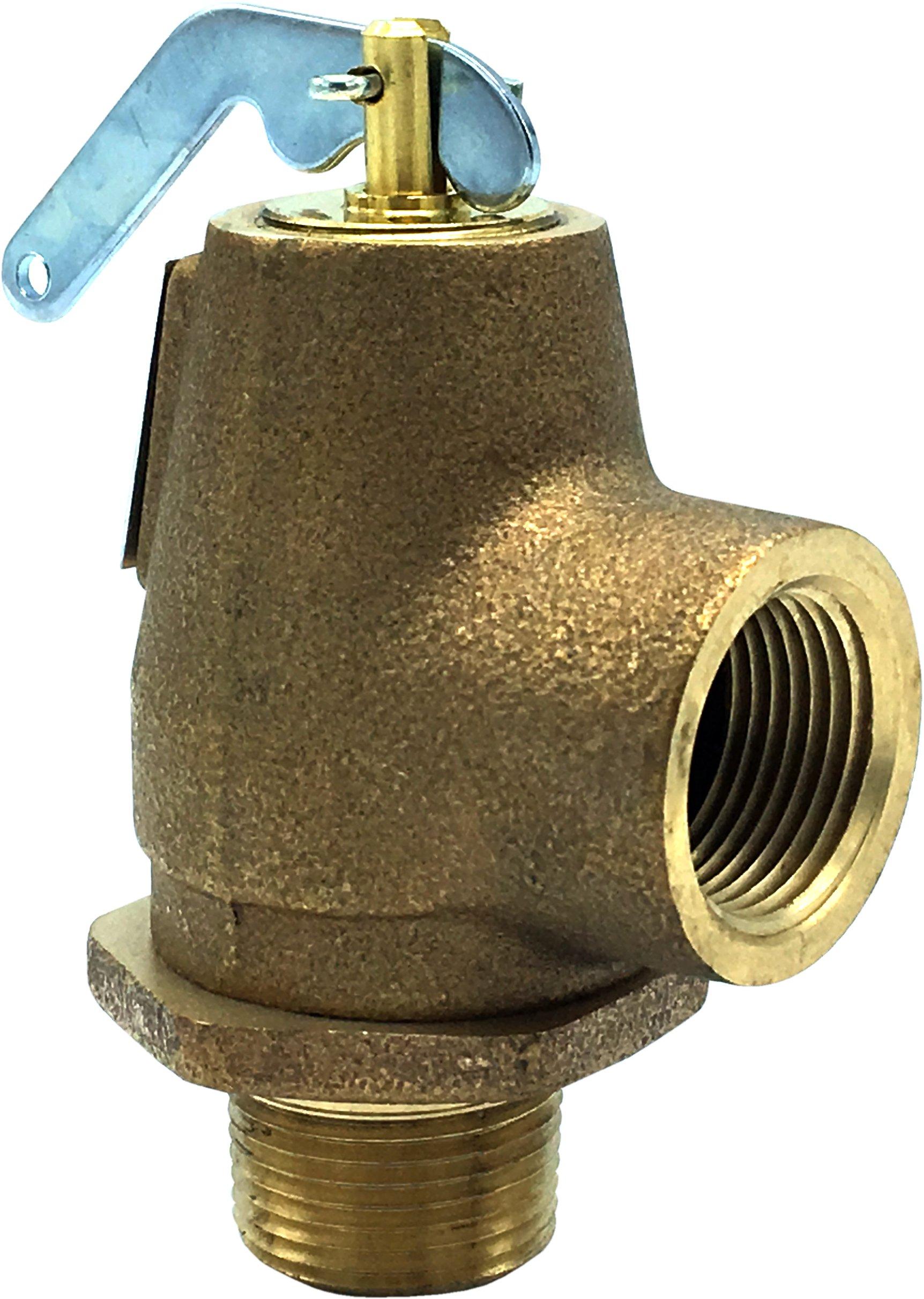 """Walrich 1727000 3/4"""" Mptxfpt 15Psi Standard Side Outlet Pop Boiler Relief Valve"""