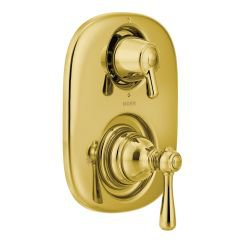 Moen T4111 Kingsley Double Handle Moentrol Pressure Balanced with Volume Control and Integrated Diverter Valve Trim in Polished Brass