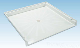 "Mustee Caregiver 3739M 39"" X 37"" 4"" White Fiberglass 1-Piece Transfer Shower Floor"