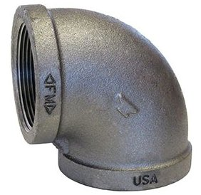 """Anvil 0310000807 1/2"""" X 1/2"""", Fptxfpt, Class 150, 300Psi, Lead-Free, Black, Malleable Iron, 90D, Standard, Elbow"""