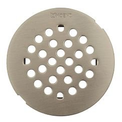 "Moen 101663 4 - 1/4"" Round Shower Drain Cover with Snap-in Installation in Brushed Nickel"