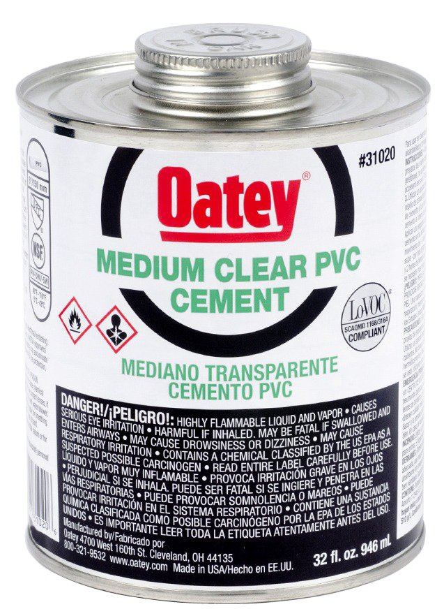 Oatey 31020 32Oz Can Clear Medium Solvent Cement