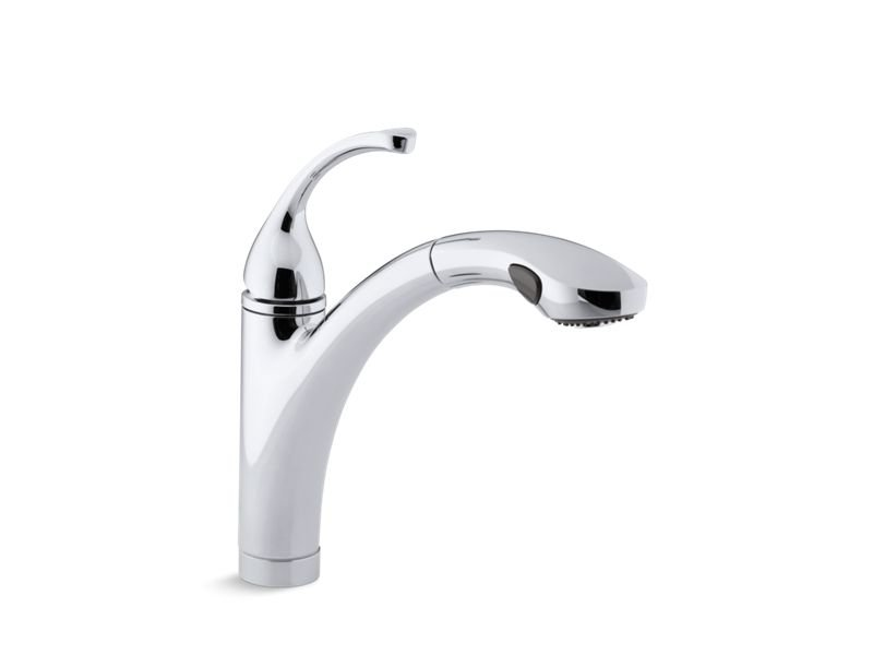 """Kohler K-10433-CP Forte Single Hole or 3-Hole Kitchen Sink Faucet with 10-1/8"""" Pull-Out Spray Spout in Polished Chrome"""