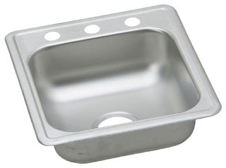 "Elkay Dayton D117193 17"" Satin Stainless Steel 3-Hole 1-Bowl Bar Sink"