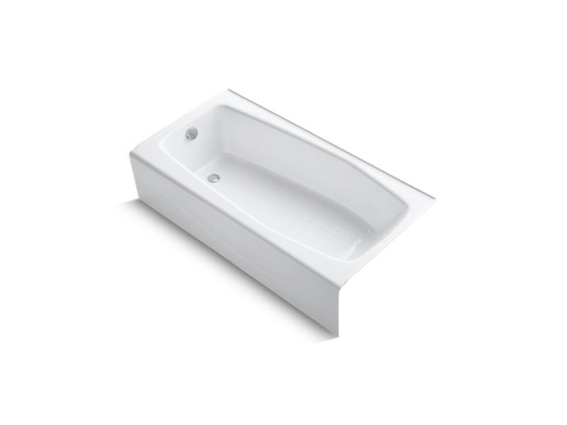 "Kohler K-715-0 Villager 60"" x 30"" Alcove Bath with Integral Apron and Left-Hand Drain in White"
