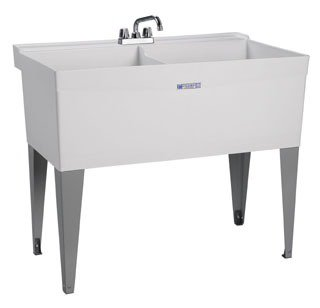 "Mustee Utilatwin 27F 40"" X 24"" 34"" White Thermoplastic 1-Piece Dual Bowl Laundry/Utility Tub"