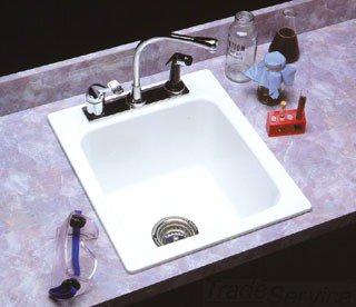"Mustee 11 17"" X 20"" 10"" White Molded Fiberglass Three Hole 4"" Or 8"" Center Single Bowl Utility Sink"