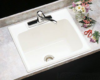 "Mustee 10C 25"" X 22"" 13-3/4"" White Molded Fiberglass One Hole Single Center Bowl Utility Sink"