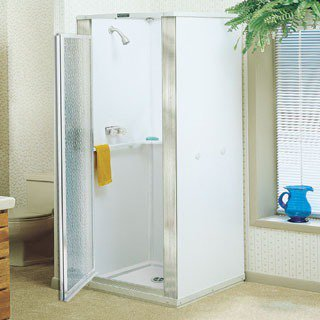 """Mustee Durastall 80 32-5/8"""" X 75-3/8"""" White Thermoplastic 1-Piece Shower Wall"""