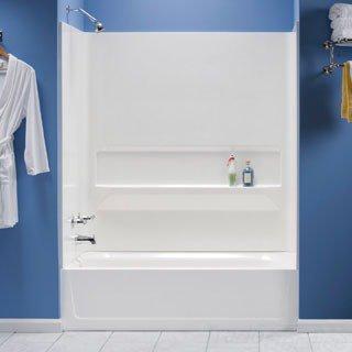 "Mustee Topaz 660WHT 68"" X 27-1/4"" 61-1/4"" White Fiberglass 3-Piece Bathtub Wall"