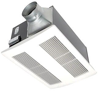 Panasonic FV-11VH2 Whisper Warm 110 CFM 0.6 Sone Ceiling Mounted Energy Star Rated Bath Fan and Heater Combination with 4 Inch Duct Diameter