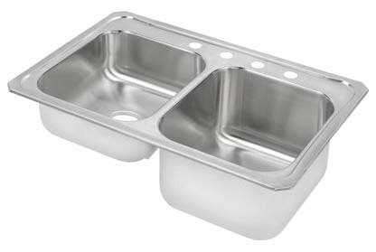 """Elkay STCR3322R3 20 Gauge Stainless Steel 33"""" x 22"""" x 10.25"""" Equal Double Bowl Top Mount Kitchen Sink - 3 Hole in Brushed Satin"""