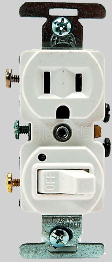Diversitech 620-274W 120V, 15A, 2-Pole Toggle Switch, White, Duplex, Air Handler Combination Switch/Plug