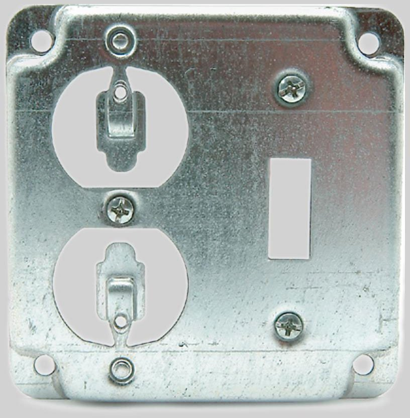 "Diversitech 620-411 4"", Steel, 1-Switch And 1-Duplex Receptacle, Electrical Outlet Box Cover"