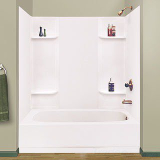 "Mustee Durawall 53WHT 62-1/4"" X 30-1/4"" 58"" White Thermoplastic 5-Piece Bathtub Wall"