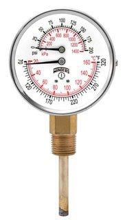 "Winter TTD407 3"" Dial 0 To 200Psi/Kpa Celsius/Fahrenheit Tridicator"