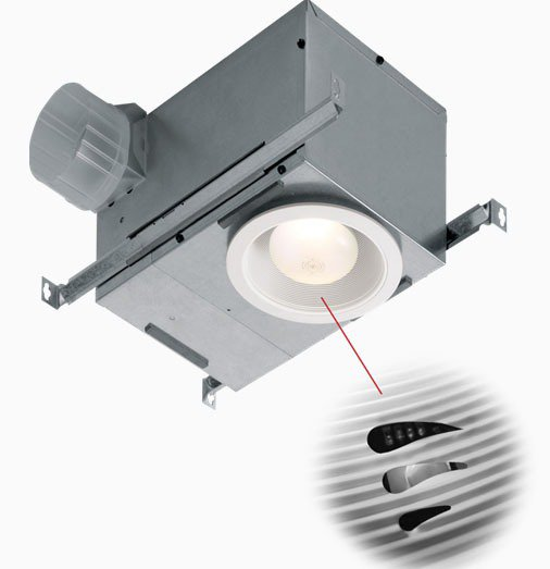 Broan 744SFL Energy Star Qualified Recessed Humidity Sensing Bath Fan With Fluorescent Light, 70 Cfm, White