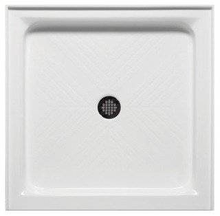 "Americh A 3636 ST-WH 36"" X 5-1/2"" White/Stainless Lucite Acrylic Base Single Threshold Shower"