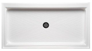 "Americh A 6032 ST-WH 60"" X 32"" 5-1/2"" White/Stainless Lucite Acrylic Base Single Threshold Shower"