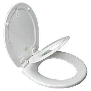 """Church Sta-Tite 683SLOW-000 14-3/8"""" X 16-7/8"""" White Wood Toilet Seat"""