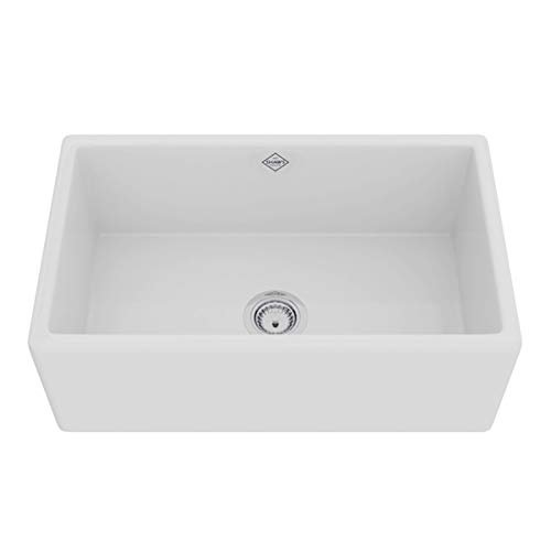 """Rohl Shaws MS3018WH 30"""" X 18"""" X 11-3/16"""" White Fireclay 1-Bowl Front Apron Kitchen Sink"""