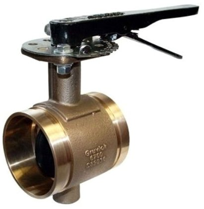 "Anvil Gruvlok 2-1/2-AN6721-3 2-1/2"", Ctsxcts, 300Psi, Lead-Free, Bronze, Lever Handle, Butterfly Valve"