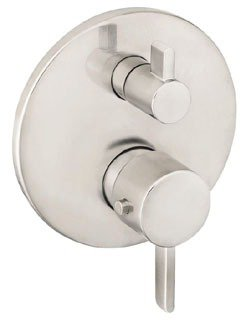 Hansgrohe 04230820 S Thermostatic Valve Trim with Integrated Volume Control - Less Valve in Brushed Nickel