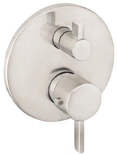 Hansgrohe 04231820 Ecostat Thermostatic Valve Trim with Integrated Diverter and Volume Controls - Less Valve in Brushed Nickel