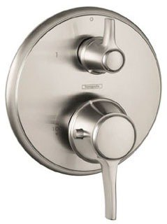 Hansgrohe 15753821 C Thermostatic Valve Trim with Integrated Diverter and Volume Controls - Less Valve in Brushed Nickel