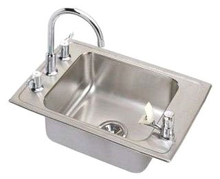 "Elkay Pursuit PLA2220C 19-1/2"" X 22"" 7-5/8"" Lustrous Highlighted Satin Stainless Steel 4-Hole 1-Bowl Sink And Faucet Kit"