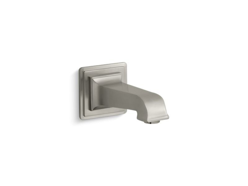 "Kohler K-13139-A-BN Pinstripe Pure Wall-Mount 6-7/8"" Non-Diverter Bath Spout in Vibrant Brushed Nickel"