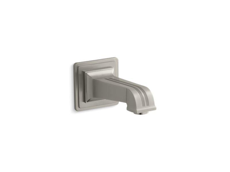 "Kohler K-13139-B-BN Pinstripe Wall-Mount 6-7/8"" Non-Diverter Bath Spout in Vibrant Brushed Nickel"