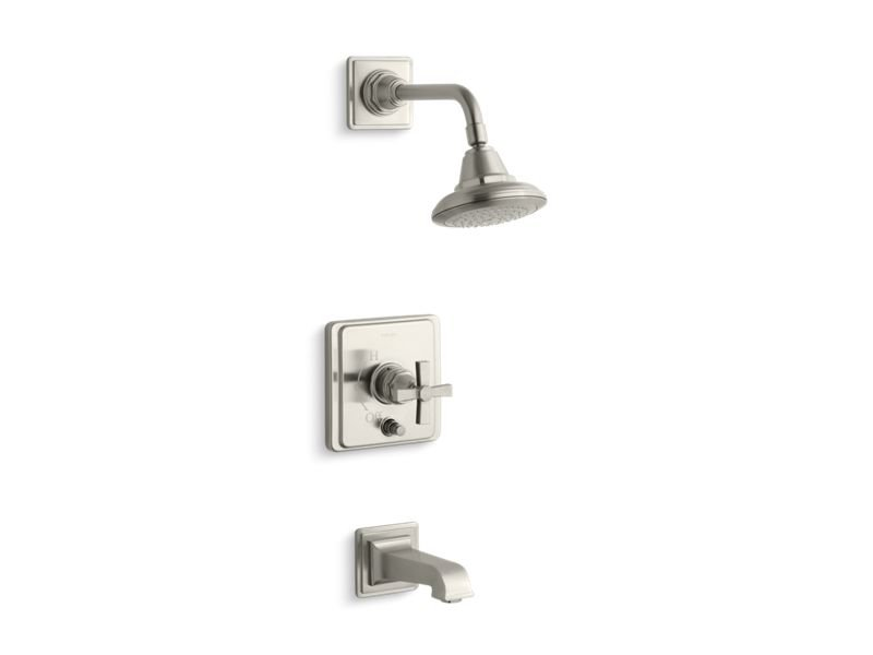 Kohler K-T13133-3A-BN Pinstripe Pure Rite-temp Pressure-balancing Bath and Shower Faucet Trim with Cross Handle, Valve Not Included in Vibrant Brushed Nickel