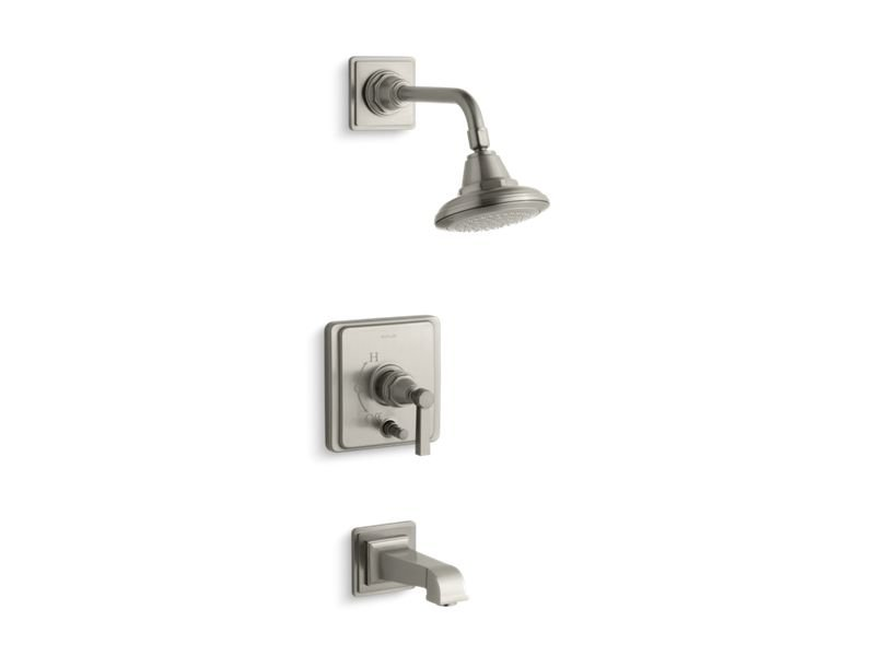 Kohler K-T13133-4A-BN Pinstripe Pure Rite-temp Pressure-balancing Bath and Shower Faucet Trim with Lever Handle, Valve Not Included in Vibrant Brushed Nickel