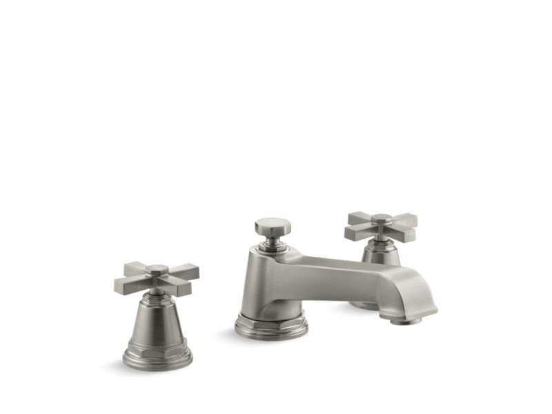 Kohler K-T13140-3A-BN Pinstripe Pure Deck-Mount Bath Faucet Trim for High-Flow Valve with Cross Handles, Valve Not Included in Vibrant Brushed Nickel